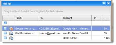 Outlook Pst Viewer list of email messages.