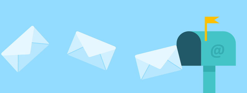 Emails traveling through air to a mailbox.