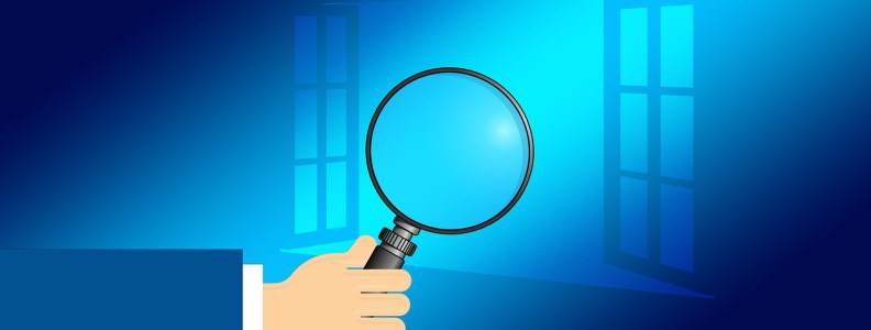 Illustration showing magnifying glass and Microsoft logo illustration.