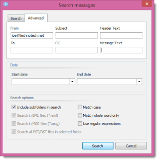 Image shows the advanced search window in Pst Viewer Pro.
