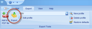 """PstViewer Pro Export tab with the """"Export"""" button circled."""