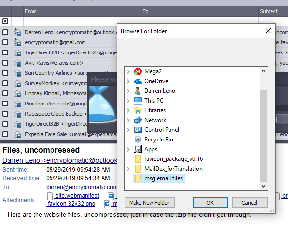 Screen image showing Windows file system folders.