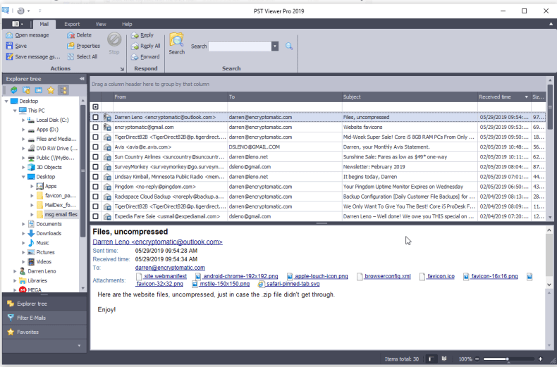 PstViewer Pro software with .msg emails organized into a mail list.