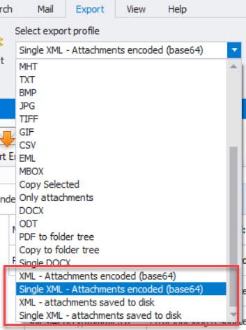 screen image of XML export profiles.