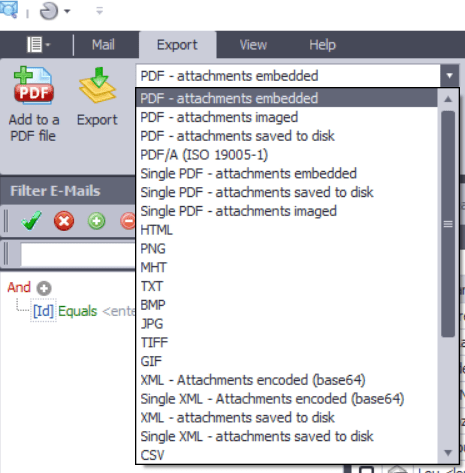 Partial screen image showing export options available in PstViewer Pro by Encryptomatic LLC, the pst viewing tool used by professionals.