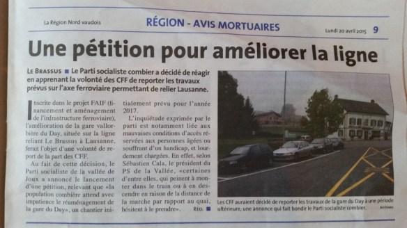 La Région, édition du 20.04.15