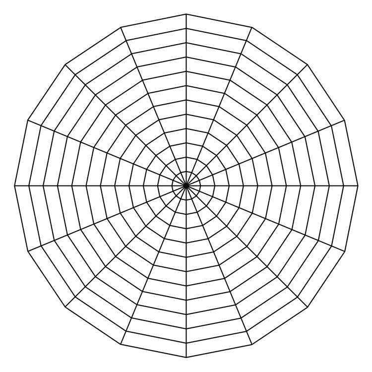 Trådarna på varje cirkelsegment verkar böja sig inåt