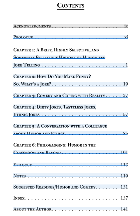 The table of contents page from Al Gini's 2017 book, The Importance of Being Funny