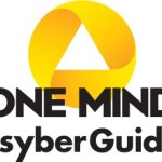 One Mind PsyberGuide Logo: yellow twisted ribbon with black words