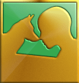 Psychiatric Service Dog Partners logo in a stylized gold pattern; dog and human silhouettes touch noses
