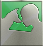 Psychiatric Service Dog Partners logo in a stylized platinum pattern; dog and human silhouettes touch noses
