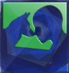 Psychiatric Service Dog Partners logo in a stylized sapphire pattern; dog and human silhouettes touch noses