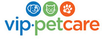 VIP Petcare logo in blue, green, and orange with three icons: dog, cat, and paw with medical cross inside