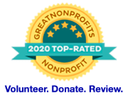 Badge: GreatNonprofits 2020 Top-Rated Nonprofit. Volunteer. Donate. Review.