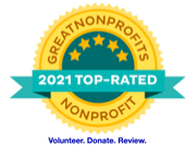 Badge: GreatNonprofits 2021 Top-Rated Nonprofit. Volunteer. Donate. Review.