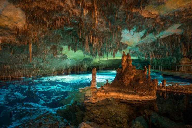 Wide angle long exposure of dragon caves lake on Majorca