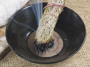 smudging a house of negative energy