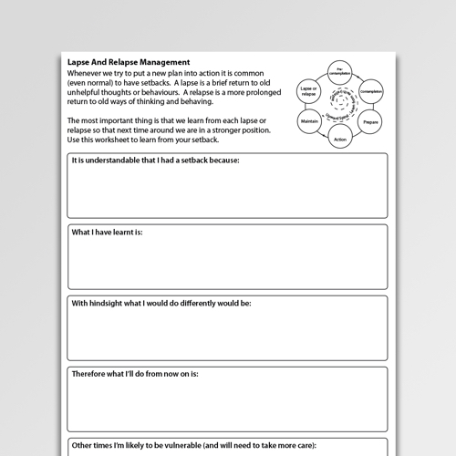 Addictions Worksheets For Professionals And Self Help