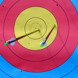 Two arrows in archery target by Casito. Used under GFDL license.