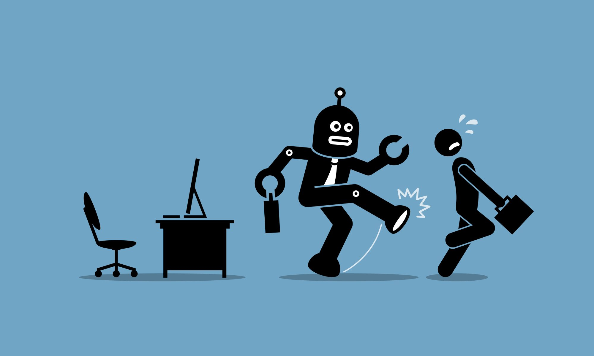 Job technology is shown as a robot kicking a worker from their desk