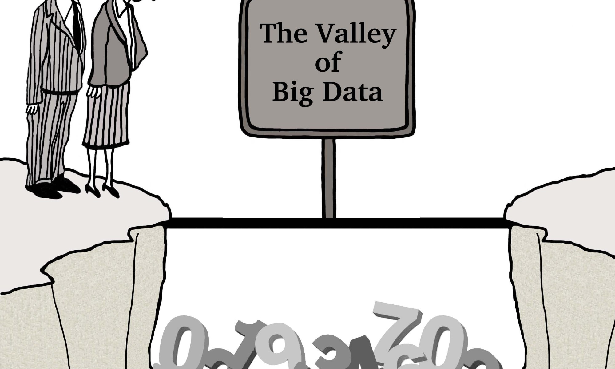 Cartoon showing people considering crossing the valley of big data