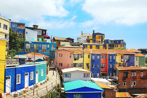 Colourful buildings in Valparaiso, Chile