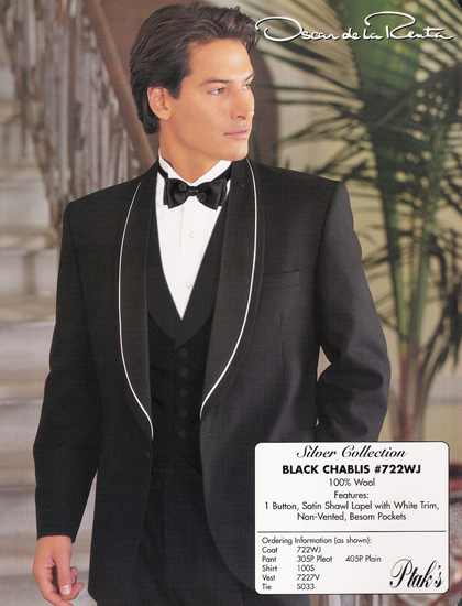 Oscar de la Renta Black Chablis 1 B Shawl/White Trim Style#722WJ