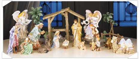 Nativity Set Figurines and Angels from the Seraphim Classic Collection
