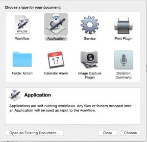 OSX Automator used to create a shell script, packaged as an executable application