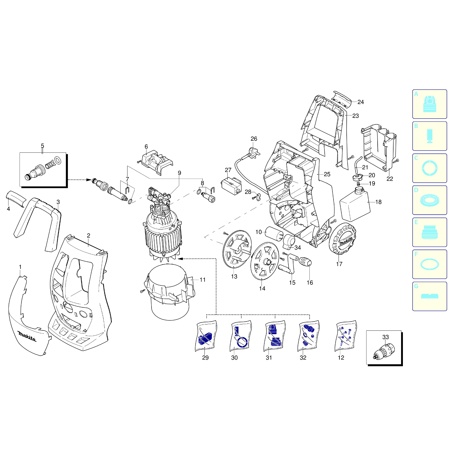 Spares for Makita Hw112 120 Bar Pressure Washer SPARE