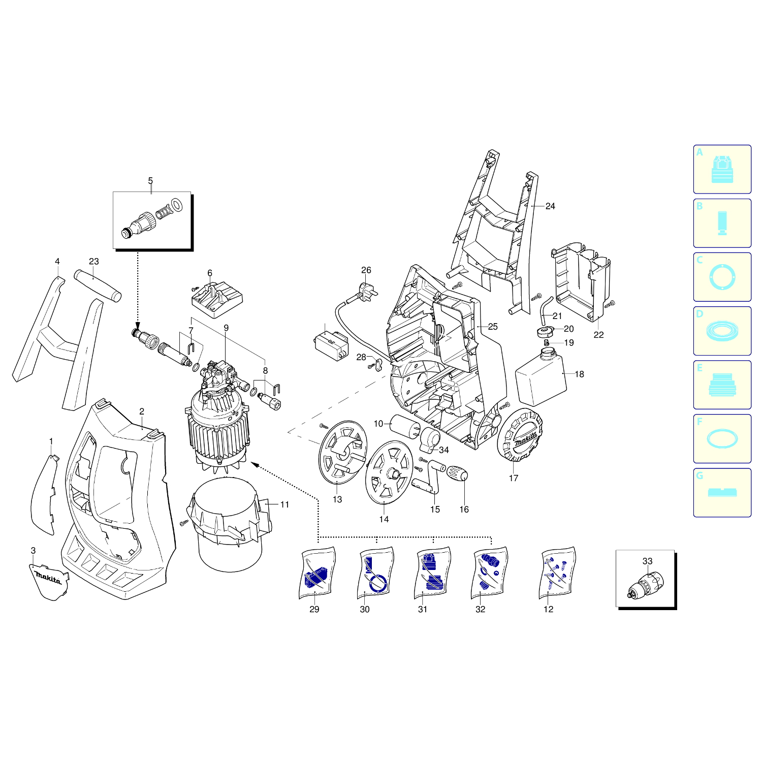 Spares for Makita Hw132 140 Bar Compact Pressure Washer