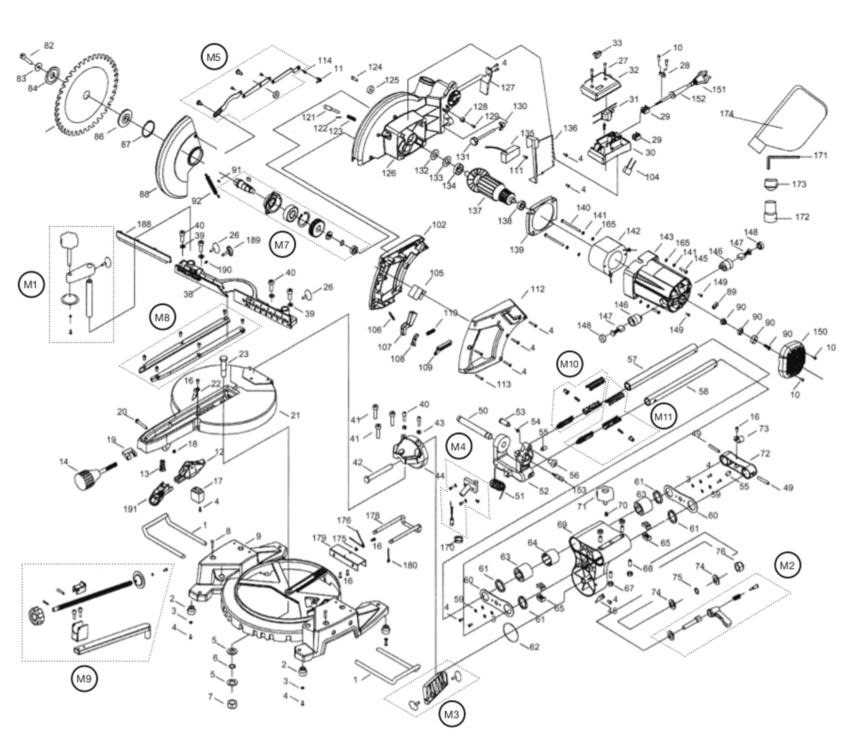 Spares for Evolution Rage3-s 230v 210mm Tct Multipurpose