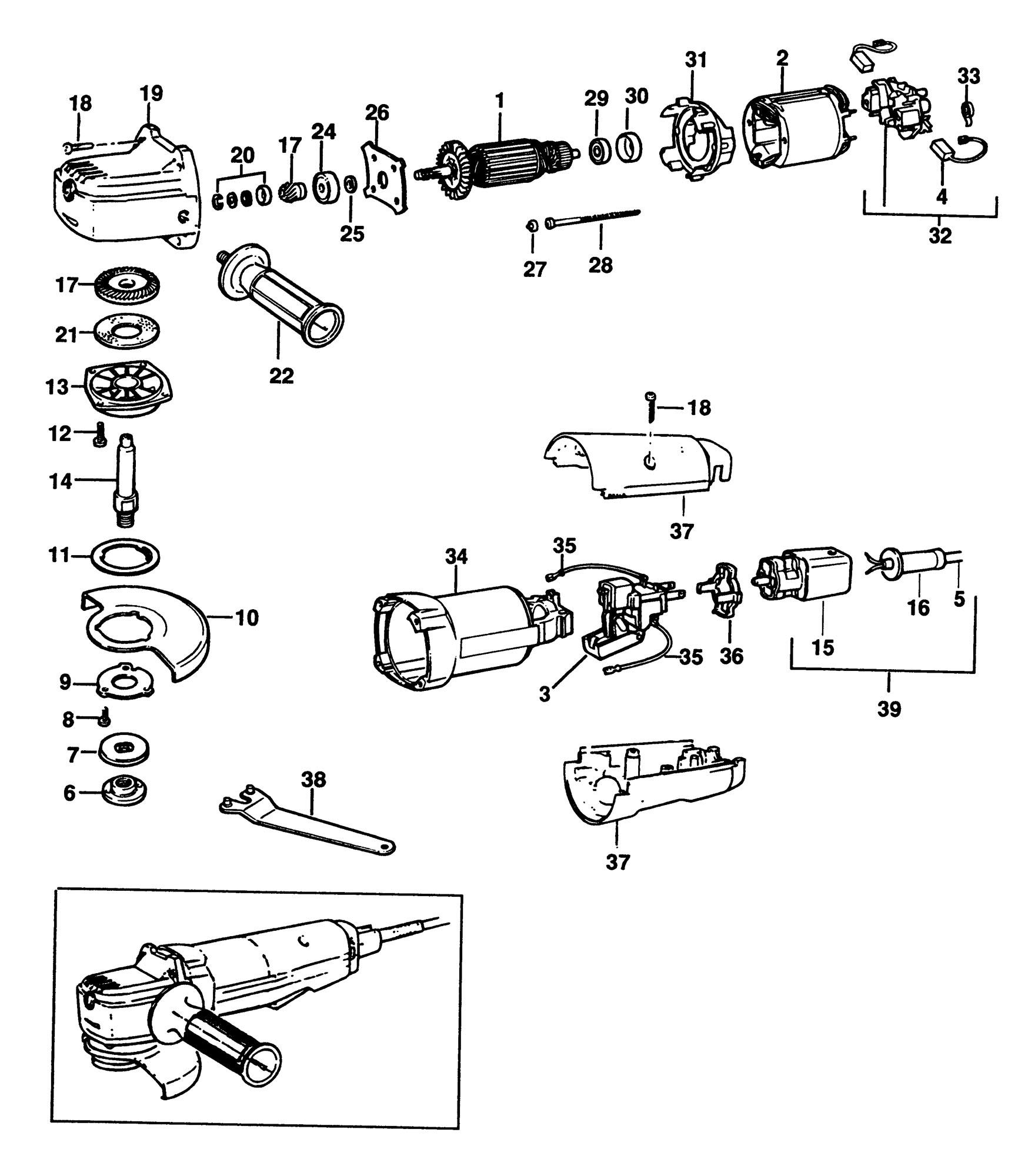 Spares For Black Amp Decker Pl80 Sander Grinder Type 2 Spare Pl80 Type 2 From Power Tool Centre
