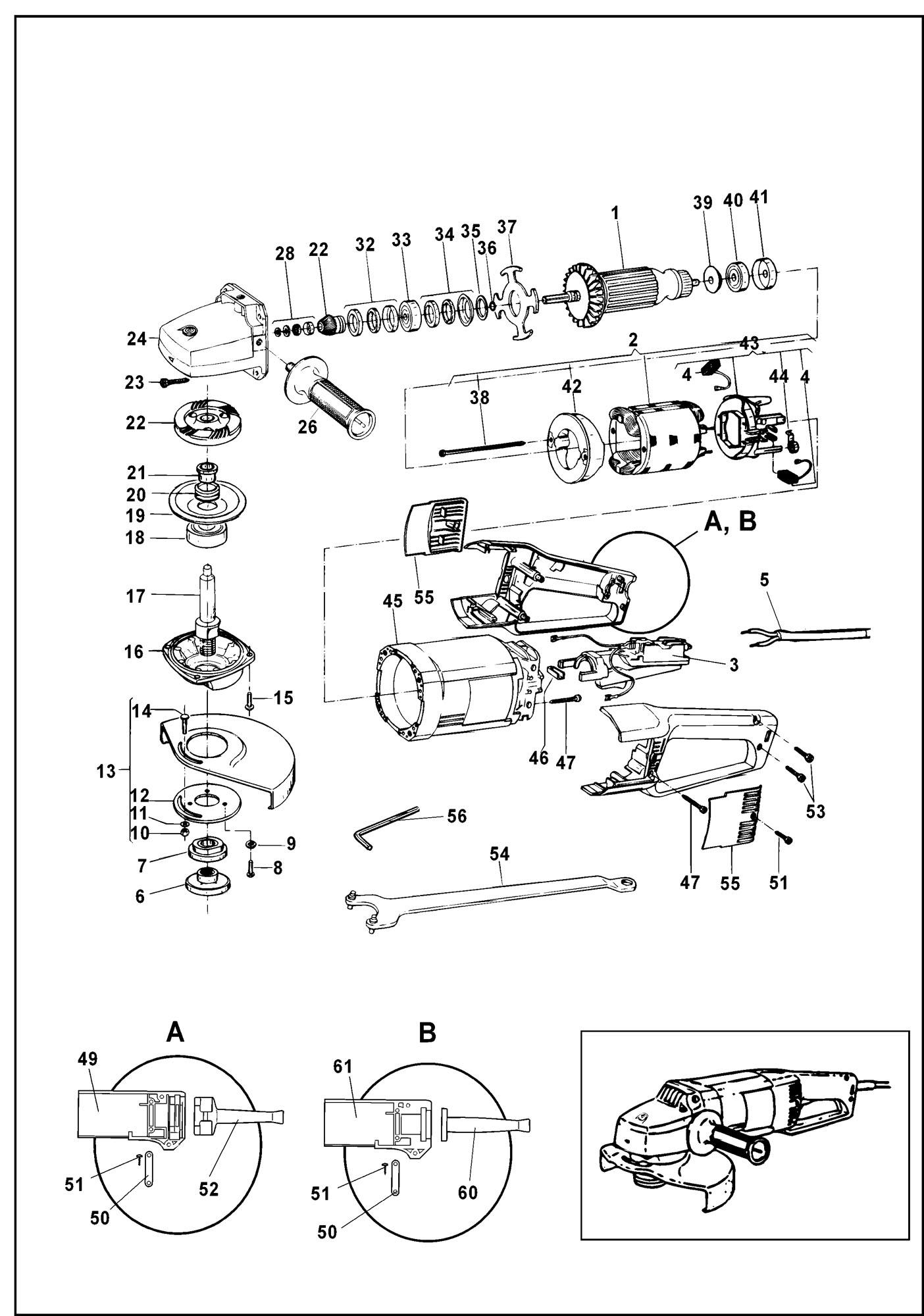 Spares For Black Amp Decker Pl85 Angle Grinder Type 3