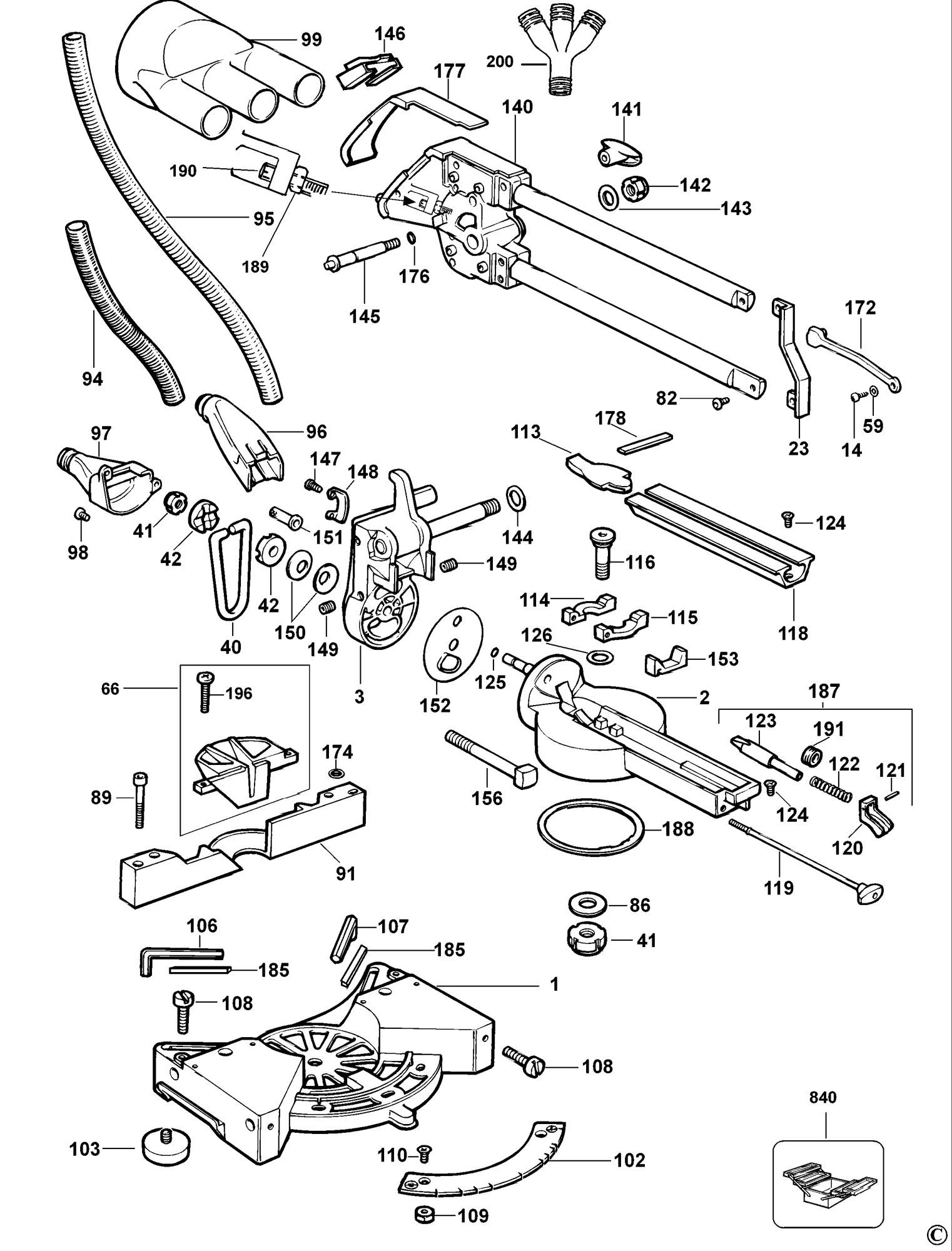 Spares for Dewalt Dw707e Mitre Saw (type 1) SPARE_DW707E