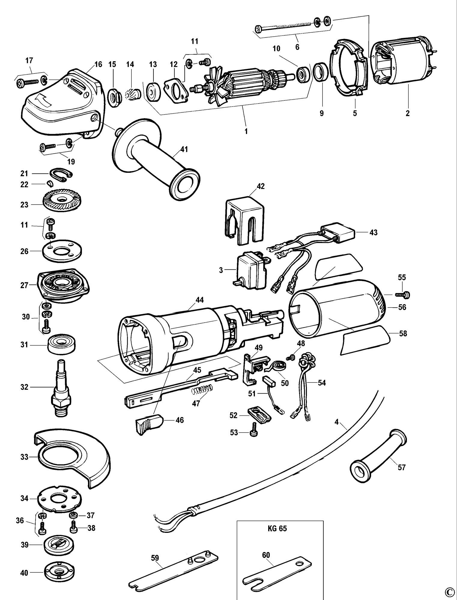 Spares for Black & Decker Kg72 Angle Grinder (type 1