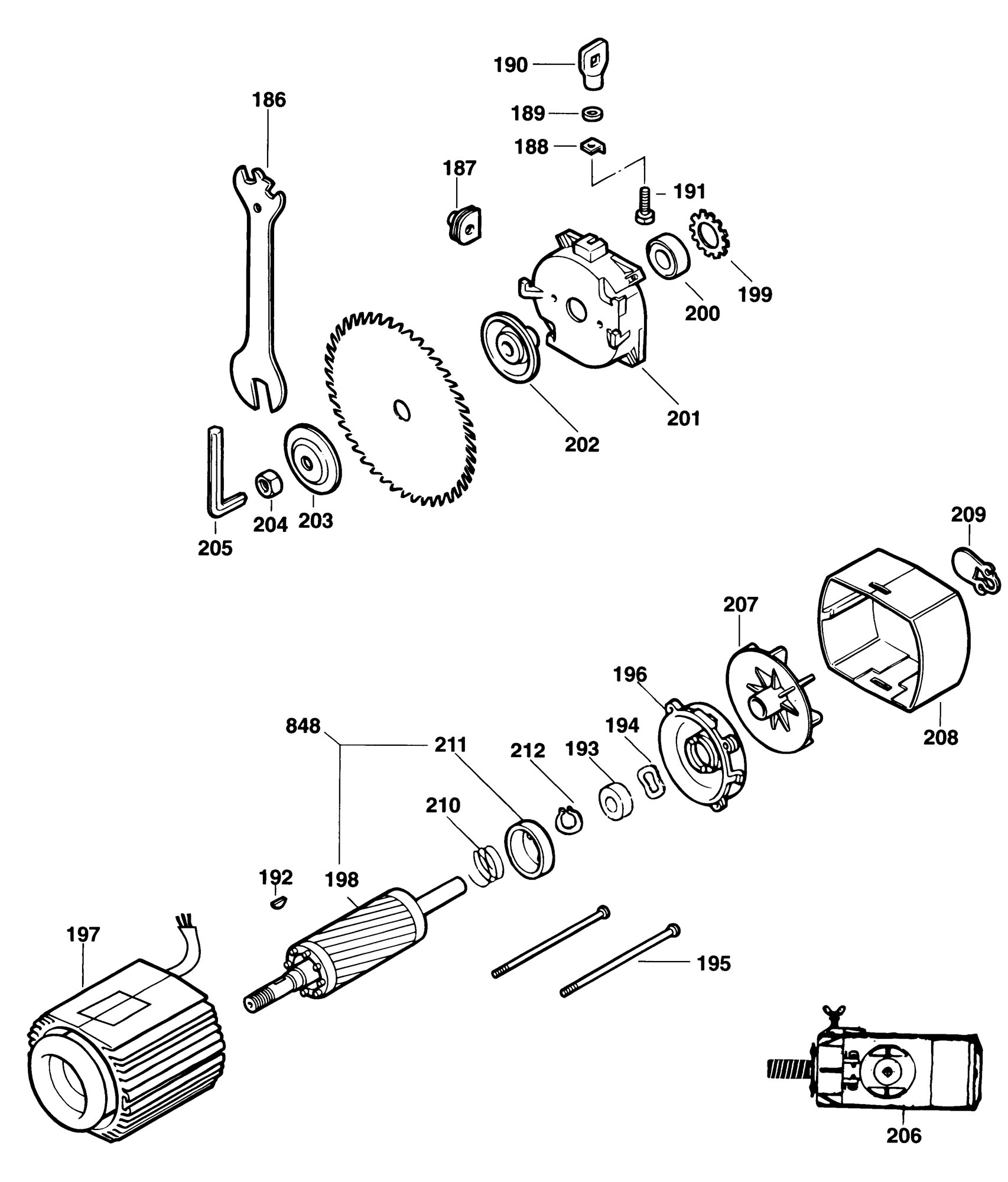 Spares for Dewalt Dw720 Radial Arm Saw (type 1) SPARE