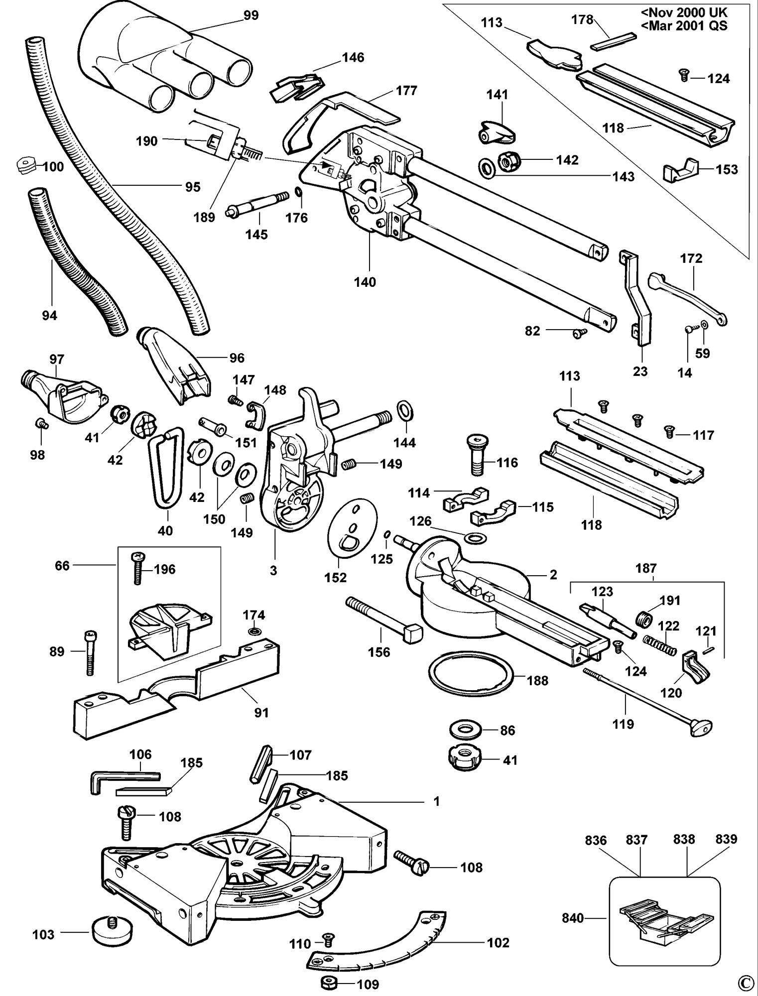 Spares for Dewalt Dw707 Mitre Saw (type 1) SPARE_DW707