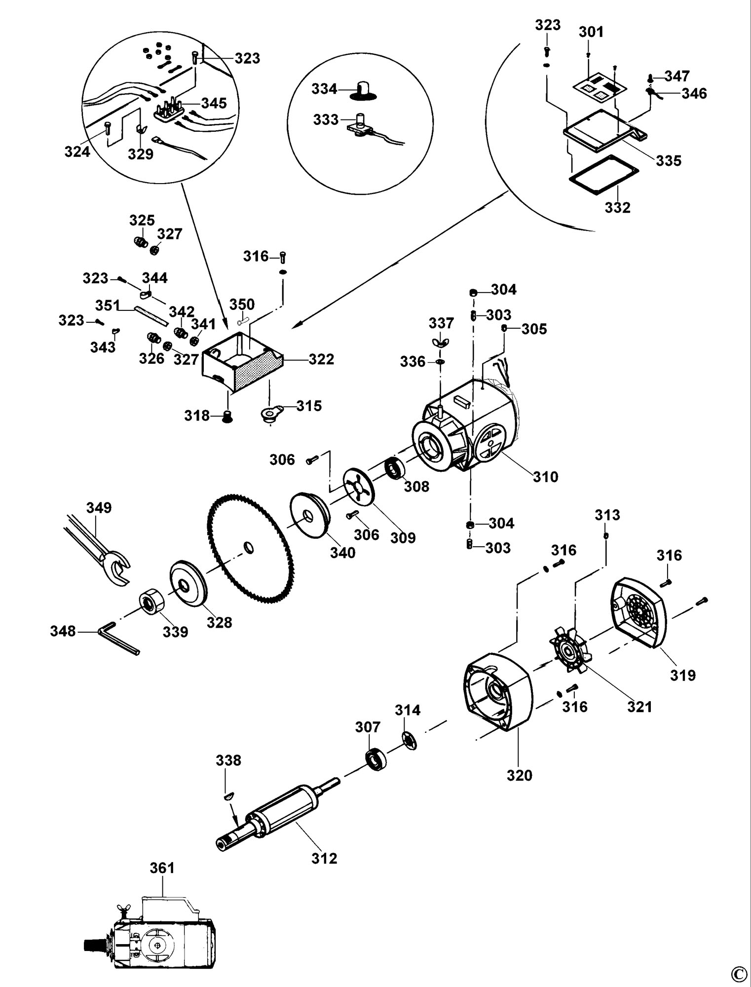 Spares for Dewalt Dw729 Radial Arm Saw (type 1) SPARE