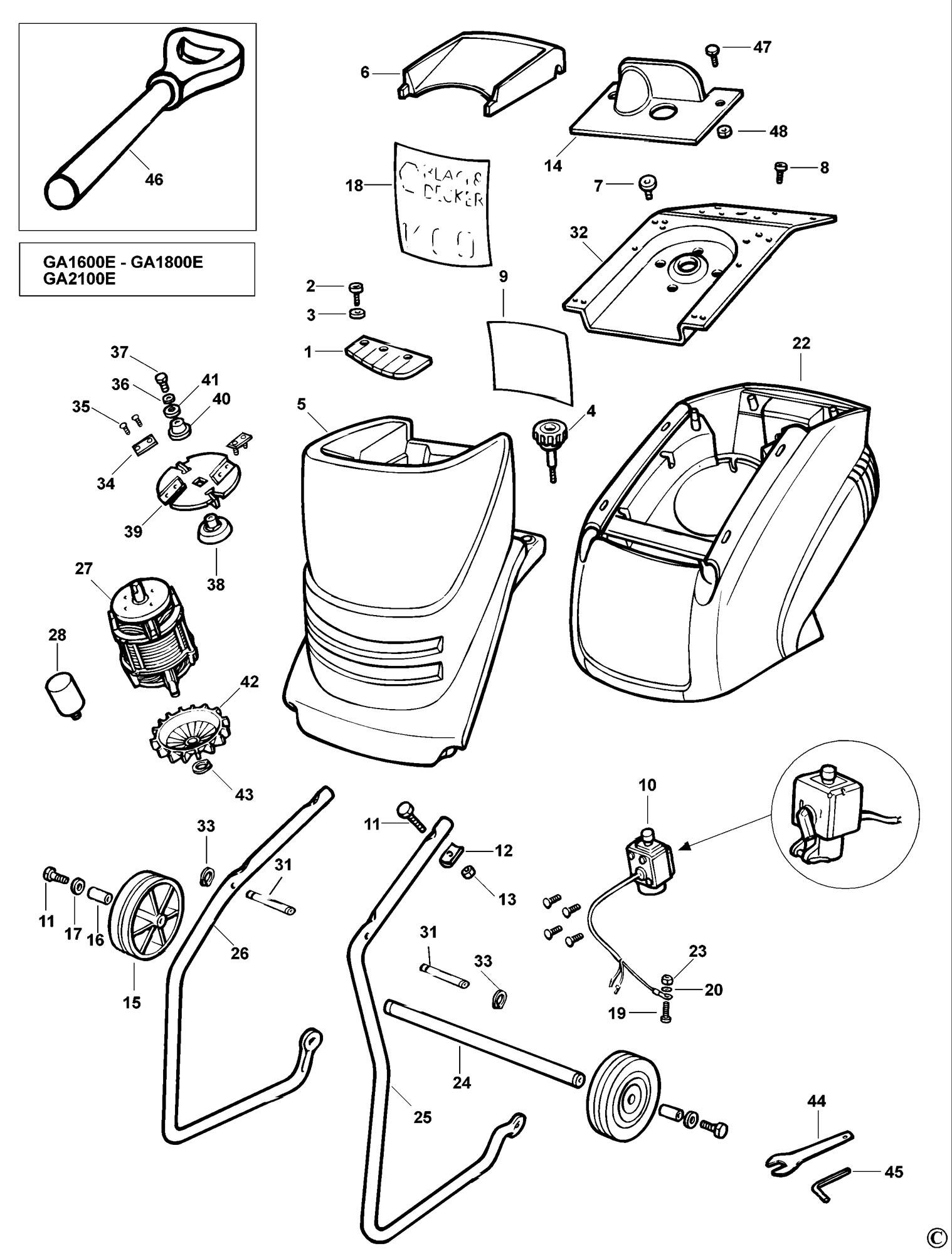 Spares For Black Amp Decker Ga E Shredder Type 1 Spare Ga E Type 1 From Power Tool Centre
