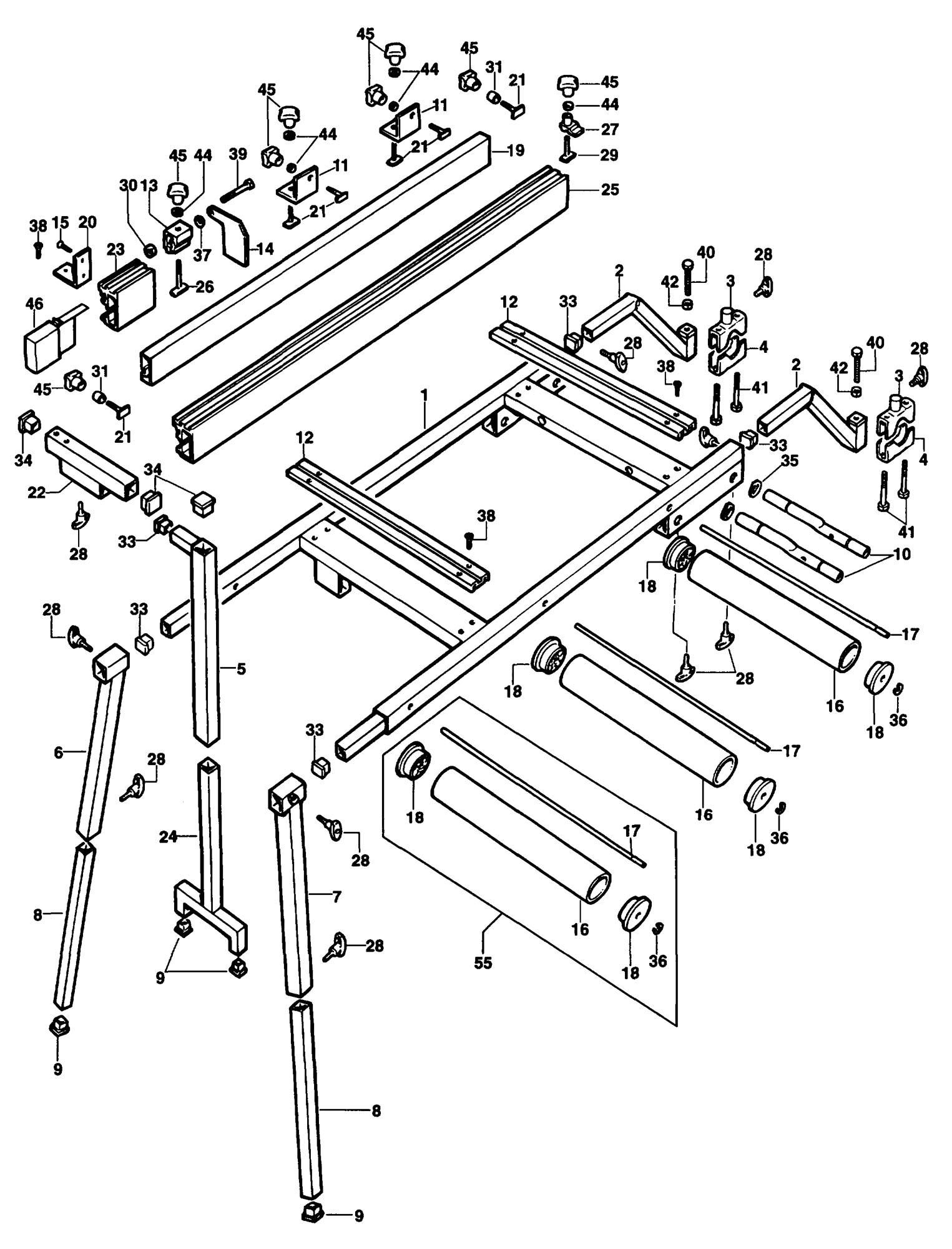 Spares for Dewalt De3497 Roller Table (type 1) SPARE