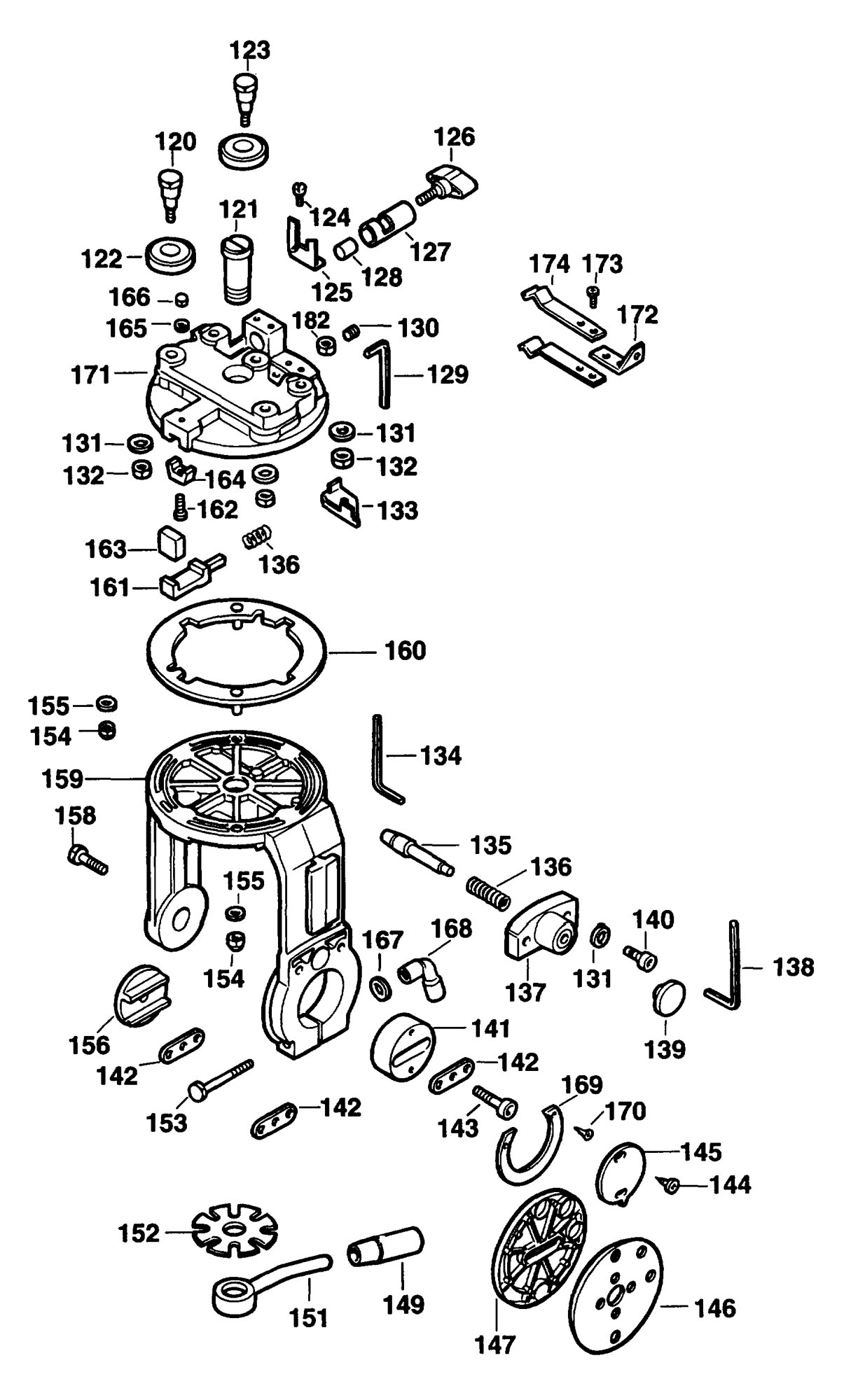 Spares for Dewalt Dw721 Radial Arm Saw (type 2) SPARE