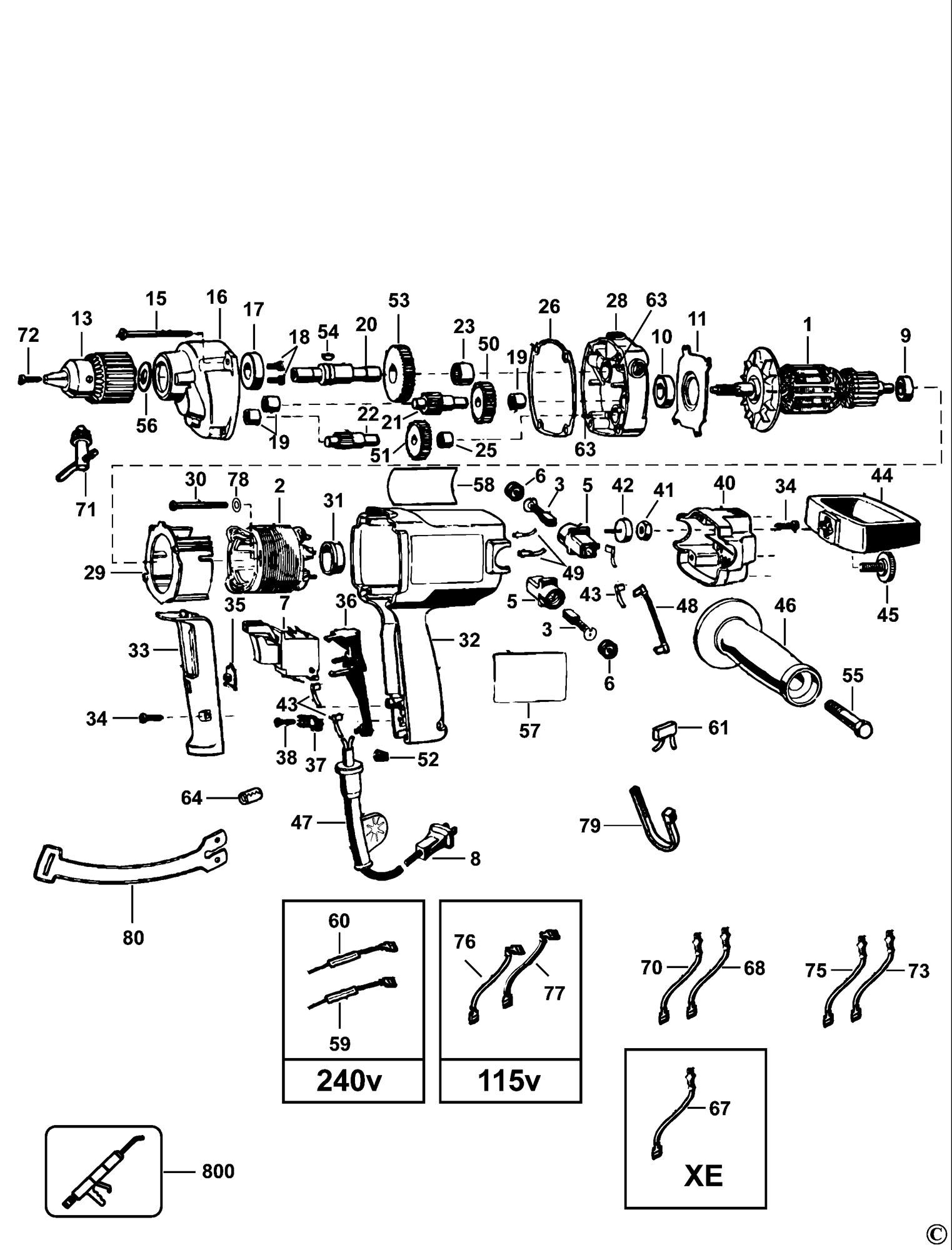 Spares for Dewalt Dw130 Mixer (type 2) SPARE_DW130/TYPE_2