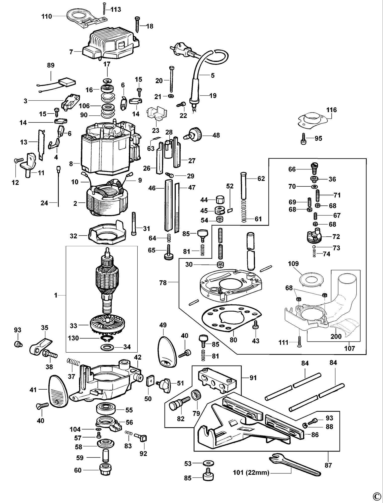 Spares For Dewalt Dw624 Router Type 1 Spare Dw624 Type 1