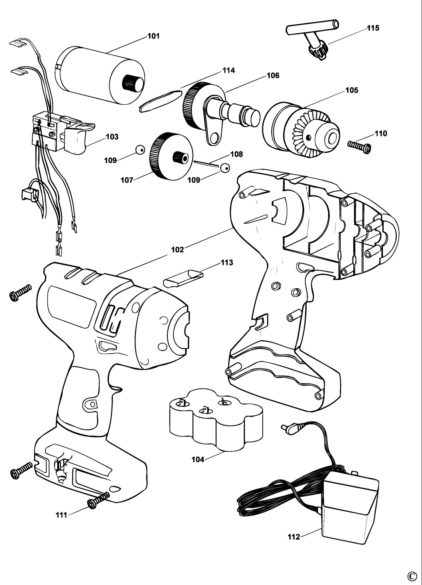 Spares for Black & Decker Kc9099 Cordless Drill (type 1