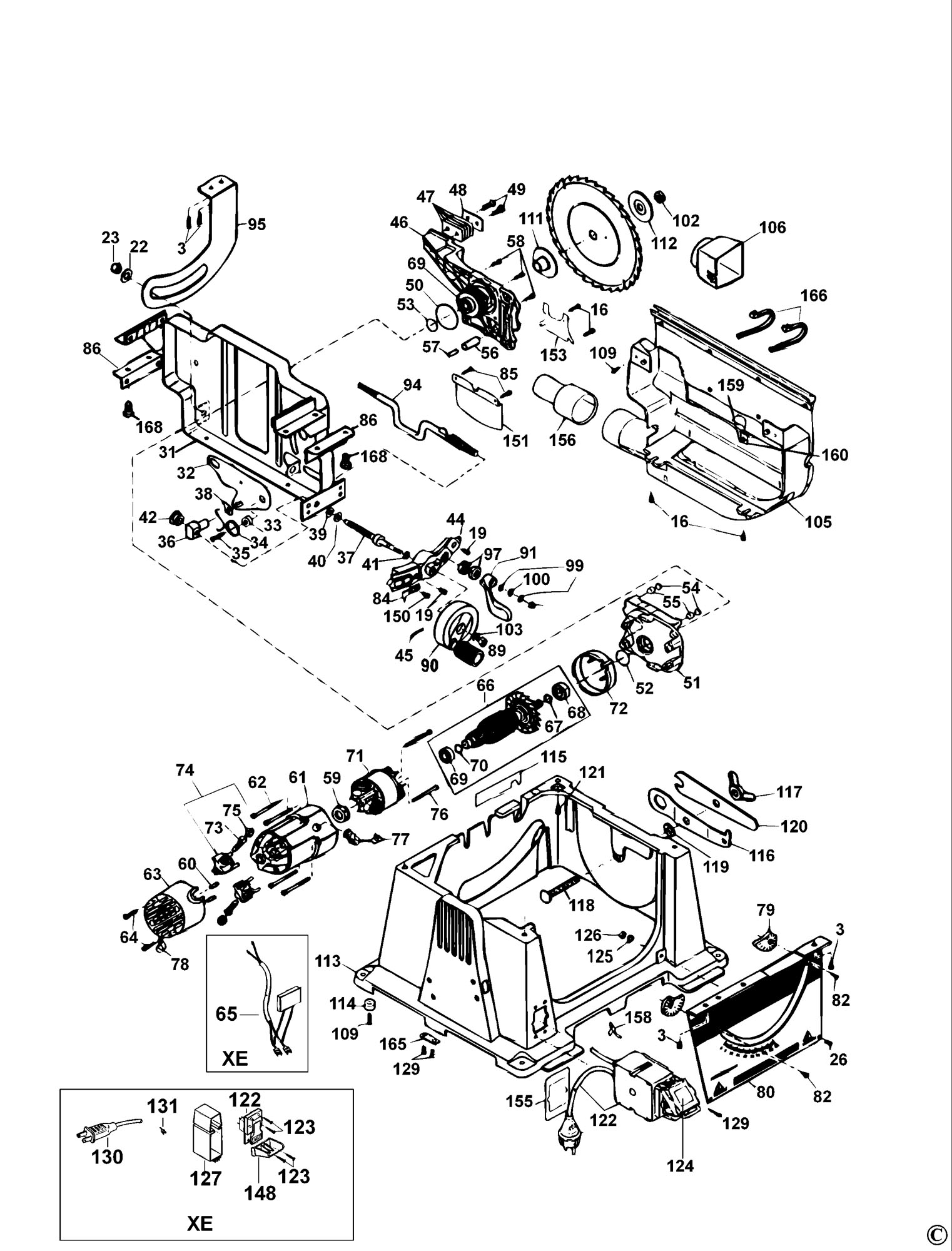 hight resolution of spares for dewalt dw744 table saw type 2 spare dw744 type 2 from dw744 table saw wiring diagram