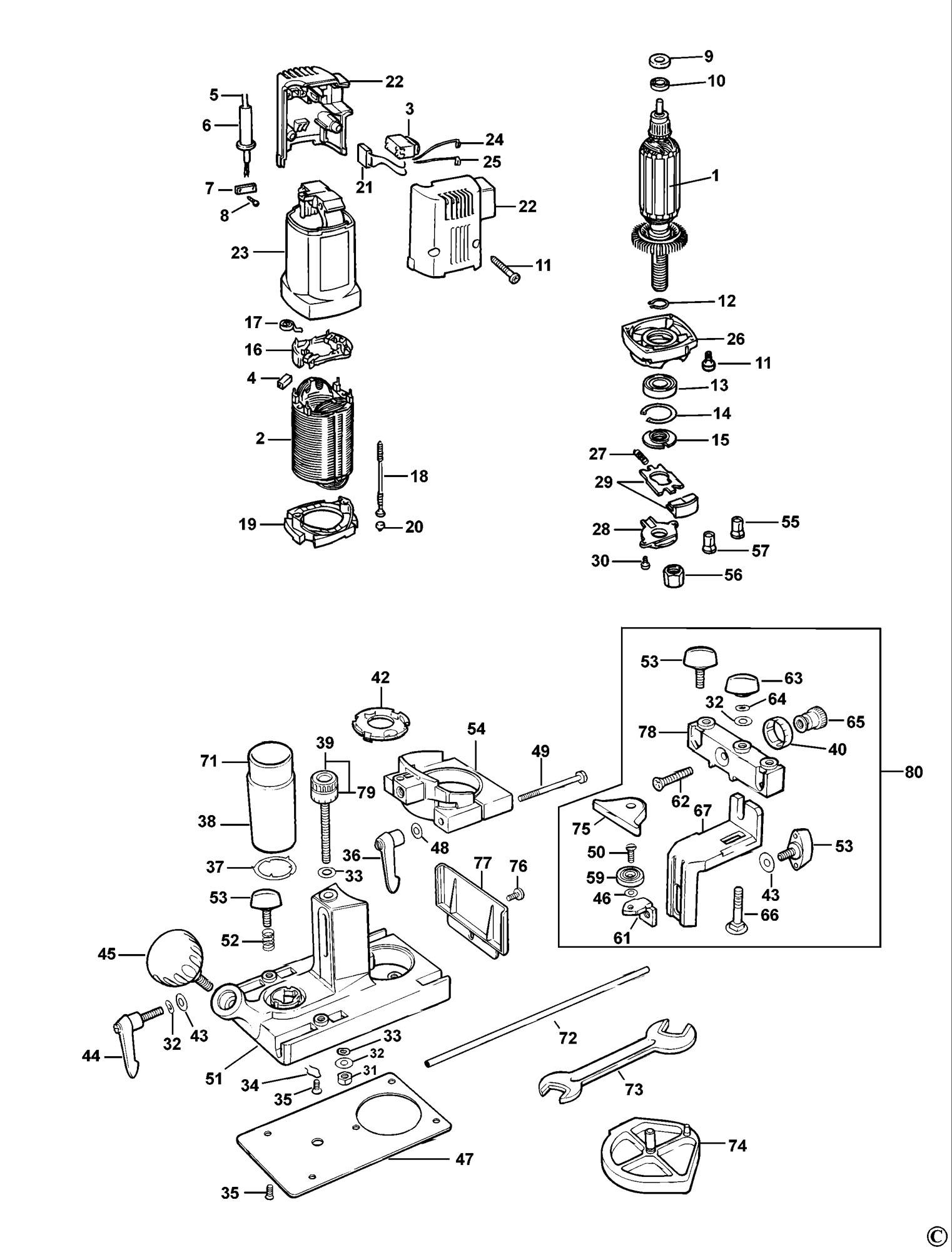 Spares For Dewalt Dw631 Laminate Trimmer Type 1 Spare