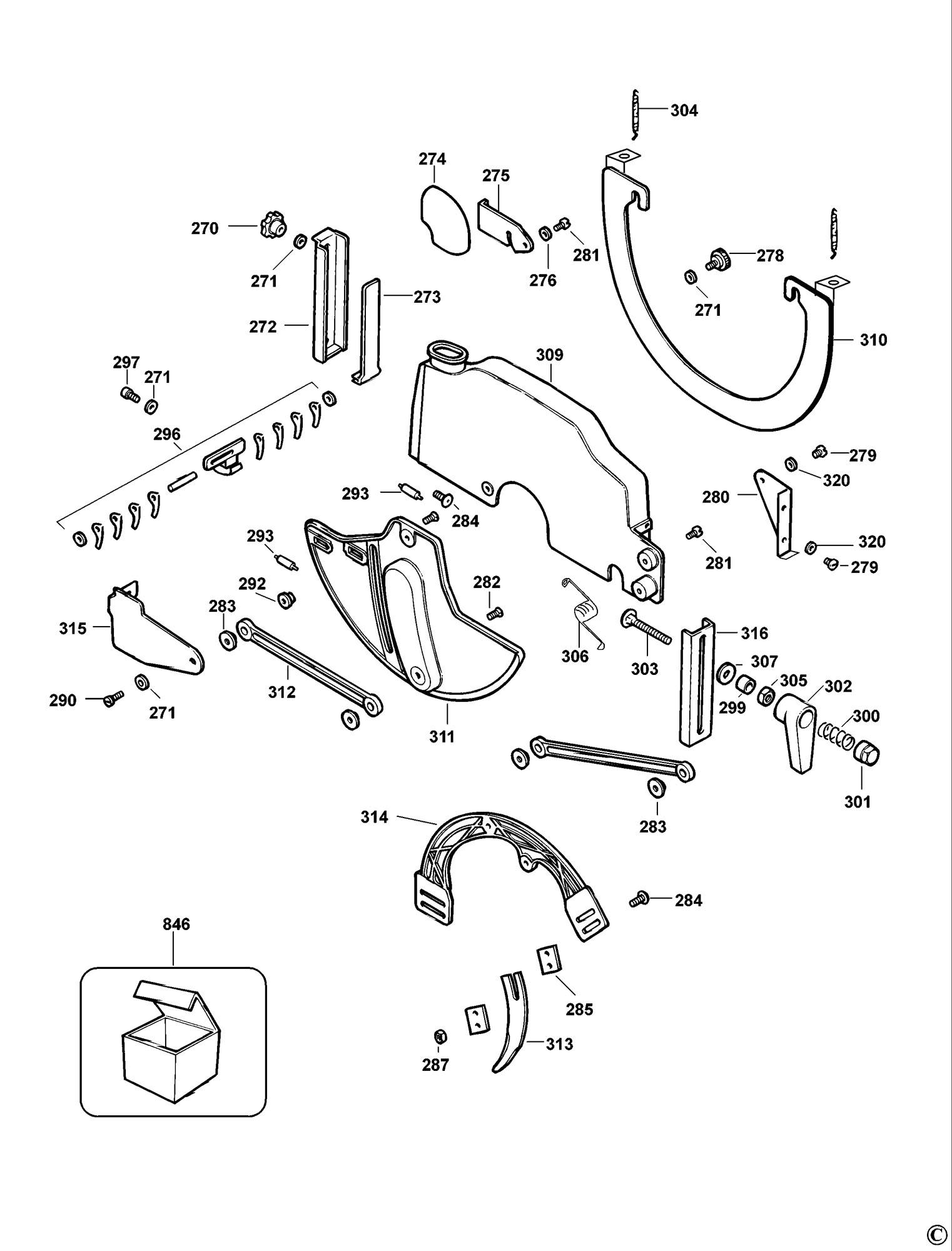 Spares for Dewalt Dw721 Radial Arm Saw (type 3) SPARE