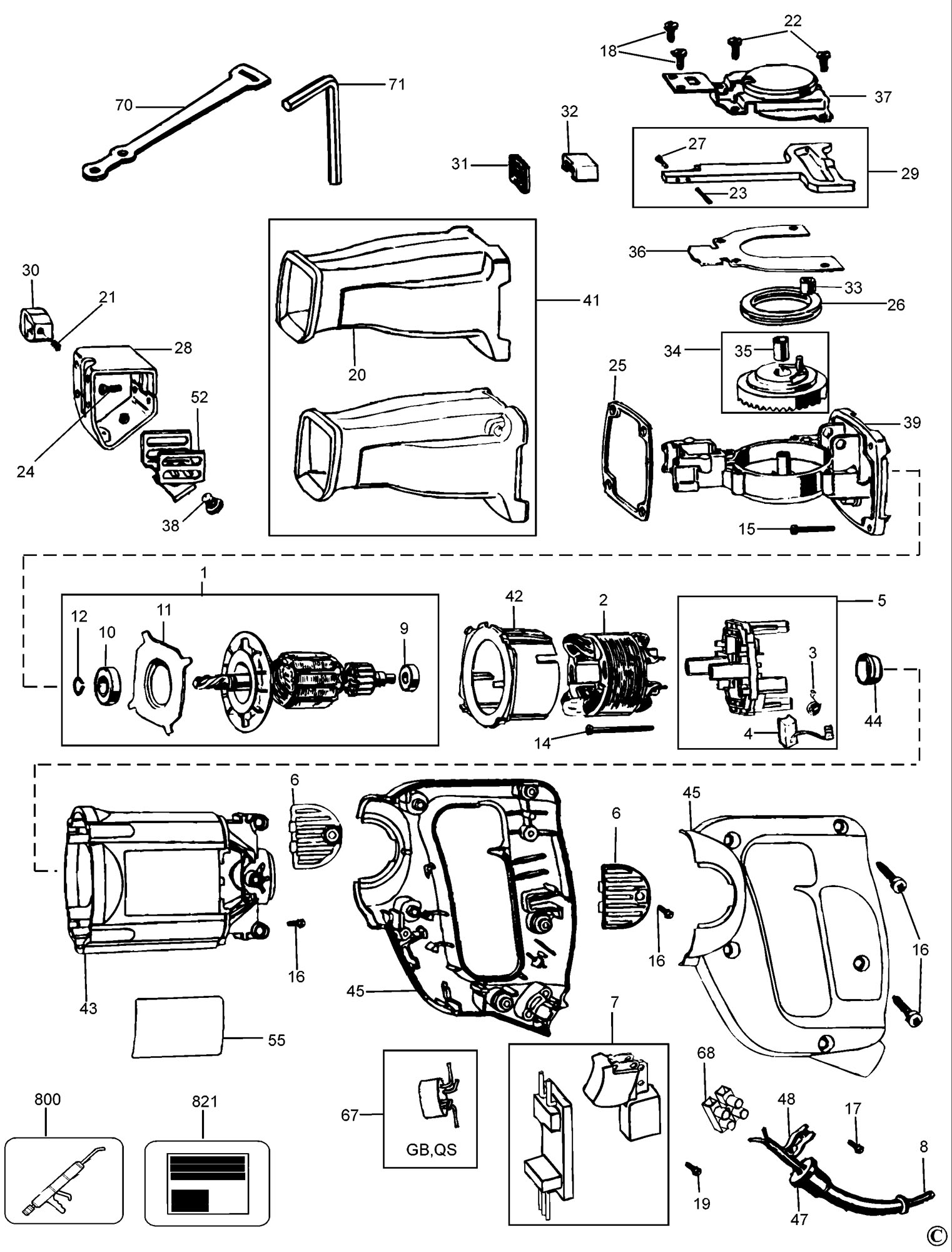 Spares For Dewalt Dw303k Cutsaw Type 1 Spare Dw303k Type