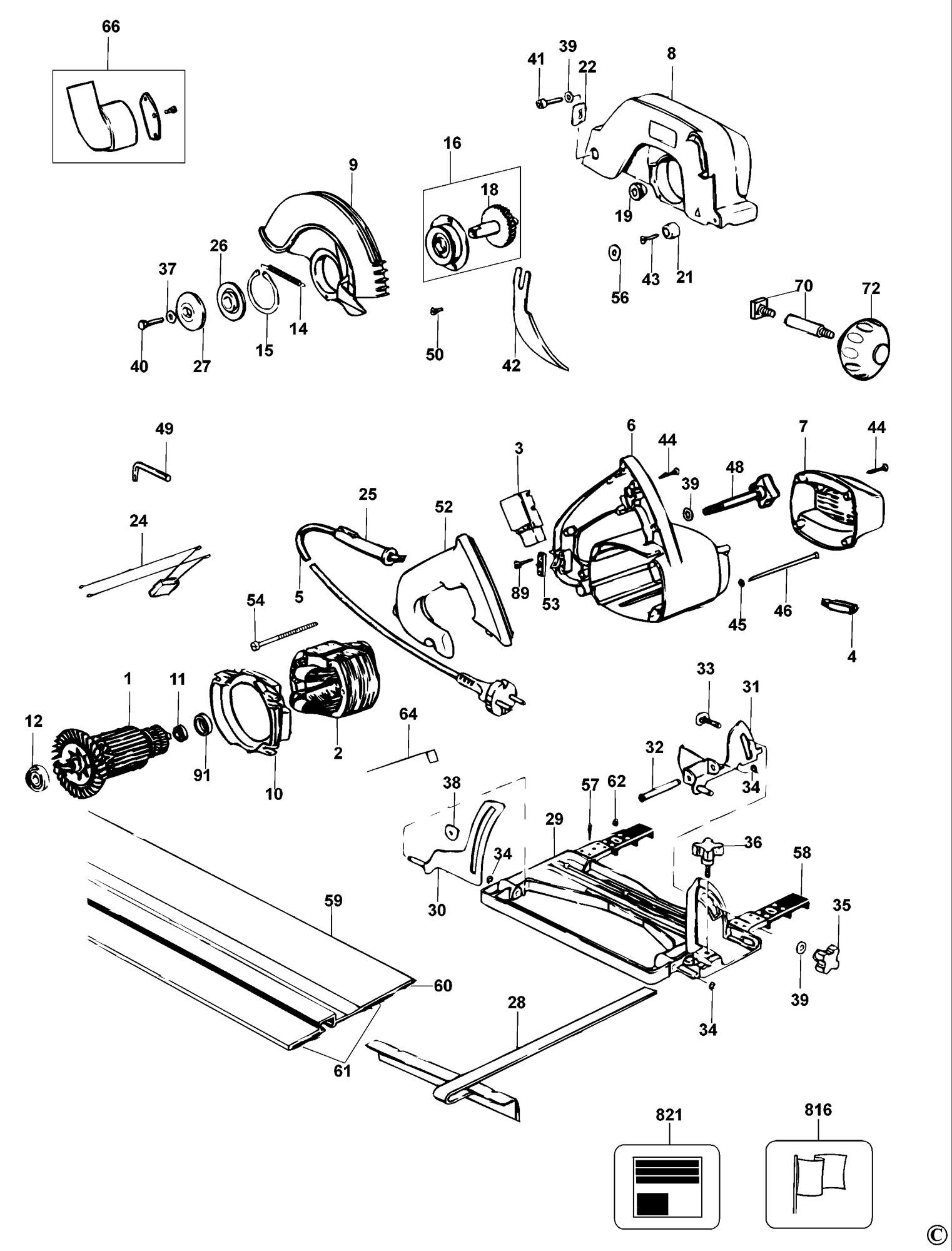 Spares for Dewalt Dw351 Circular Saw (type 7) SPARE_DW351